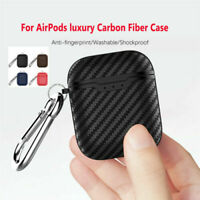 For Apple AirPods 2 Wireless Charging Case Carbon Fiber Texture Soft Case Cover*
