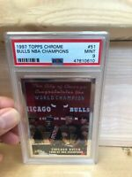 1997-98 TOPPS CHROME - BULLS NBA CHAMPIONS #51 JORDAN/PIPPEN - PSA 9