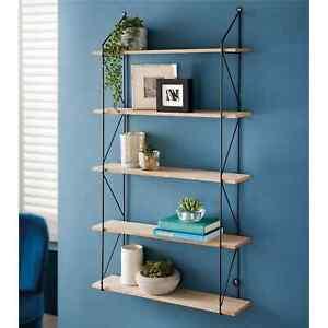 5 Tier Metal Wire Wall Floating Shelves Decoration Storage Shelf Living Room