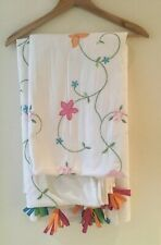 White Cotton Embroidered Butterflies Flowers Panels Lined Pair 42 X 84