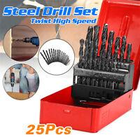 25x HSS Drill Bits 1mm-13mm for Wood Plastic Metal Drill Bit set Round Shank