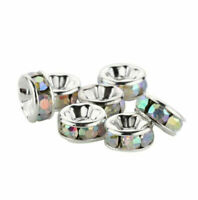 6mm 100Pcs Rondelle Silver Plated Metal With Crystal Spacer Loose Beads Making