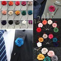 Vogue Men Women Lapel Flower Camellia Daisy Boutonniere Stick Brooch Pin Wedding