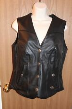 "Harley Davidson ""Basic Skins"" Lined Women's Leather Vest Size Small Pre-owned"