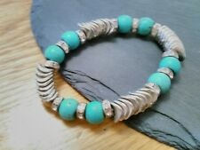 Funky quirky designer style turquoise/silver/diamante sparkle costume bracelet
