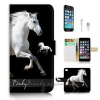 ( For iPhone 7 Plus ) Wallet Case Cover P0944 White Horse