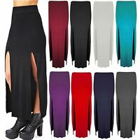 Womens Plain Girl Split Slit Ladies Gypsy Maxi Side Cut Out Long Skirt Size 8-14