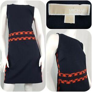 Michael Kors Pencil Dress Size L/14 Sleeveless Houndstooth Trim Navy Blue/Orange