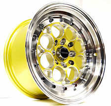 4X  15X8 MACHINED GOLD VMS RACING REVOLVER RIMS WHEELS 4X100 ET20 DRAG EG EK