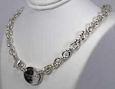 """Tiffany & Co. S. Silver Pls Return To Oval Tag Charm Chain 54 Gr 15.5"""" Necklace"""