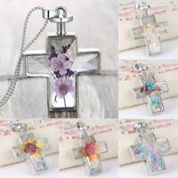 New Natural Real Dried Flower Cross Glass Floating Locket Pendant Necklace Women