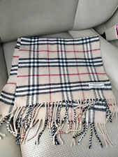 Burberry Nova Check Womens Mens Unisex Plaid Scarf Wrap Beige Wool Cashmere