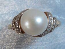 10K Yellow Gold Ring, 8mm Genuine Pearl, 24, 1mm Diamonds, TCW, .12, Size 7