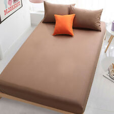 Bed Fitted Sheets Coffee Solid Color Bedding Mattress Protect Cover 180*200cm