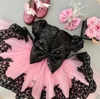 US Sequins Princess Kids Baby Girl Dress Party Wedding Bridesmaid Formal Dress