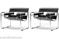 2x WASSILY STYLE BLACK LEATHER STRAP MODERN CHAIRS CHROMED STEEL TUBULAR FRAME