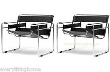 2 BLACK LEATHER STRAP MODERN WASSILY CHAIRS CHROMED STEEL TUBULAR FRAME