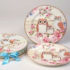 Bone China Rose & Melody Owl Set Of 2 Cake Lunch Dessert Plate Set ~ Gift Boxed