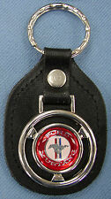 Vintage Red + White Ford MUSTANG Steering Wheel Black Leather Keyring Key Fob