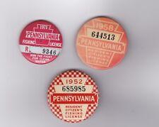 3 vintage Pennsylvania Resident Fishing License Button Pin 1952,1958,1974