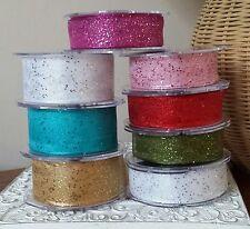 15 / 25 / 40mm Wire Edge 'Random Glitter' Sparkly Ribbon. Wedding Christmas Card