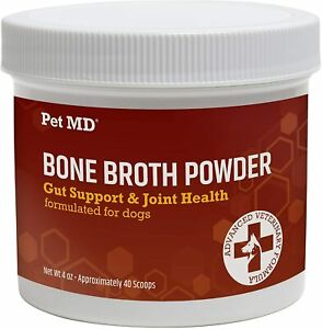 PET MD Bone Broth Powder for Dogs Food Topper - Gut Support & Joint Health -4 oz