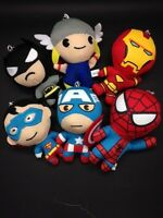 SUPERHERO PLUSH KEY CHAINS - SPIDERMAN,IRON MAN,SUPERMAN,THOR,CAPTAIN AMERICA