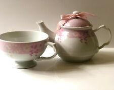 Ceramic Tea for one tea pot & cup / White With Pink
