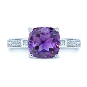 14k White Gold Natural Cushion Purple Amethyst Diamond Ring Solitaire Natural