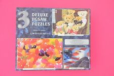 "3 Deluxe Jigsaw Puzzles ""Bears on a Chair"" ""American Eagle"" ""Jelly Beans"""