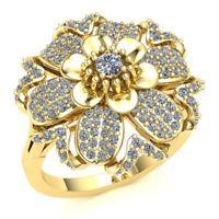 2ctw Round  Diamond Bridal Flower Bridal Engagement Ring 14K Gold