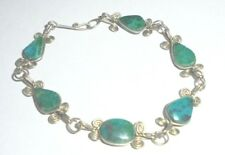 Silver Tone Wire Metal 6.5 Inch Turquoise Bracelet 2.5 Inches Closed L@@K WOW