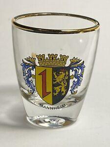 Vintage Shot Glass Mannheim Family Crest Germany Made in France Gold Rim Barware