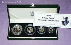 1998 ROYAL MINT SILVER PROOF BRITANNIA FOUR COIN COLLECTION