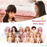 16cm Plastic Princess Toy Doll Mini Simulation BJD Doll No Clothes With 3D Eyes