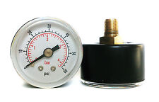 Pressure Gauge 0/60 PSI & 0/4 Bar 40mm Dial 1/8 BSPT Back connection.