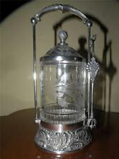 ANTIQUE MERIDEN SILVERPLATE PICKLE CASTOR CASTER ETCHED GLASS