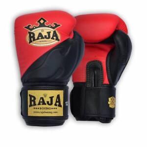 NEW RAJA AIR PREMIUM RED/BLACK MARTIAL ARTS MUAY THAI BOXING LEATHER GLOVES