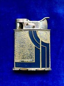 Vintage 1934 Art Deco Evans Pocket Lighter Blue/Chrome Jazz Age BEAUTIFUL RARE!