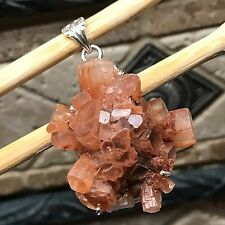 Natural AAA Aragonite Star Cluster 925 Solid Sterling Silver Pendant 50mm