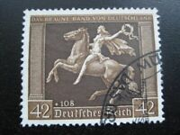 THIRD REICH Mi. #671 scarce used Braunes Band Horse Race stamp! CV $72.50