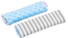 BABY DIMPLE  BELT COVER CAR SEAT PRAM PAD SHOULDER STRAP 2pc Blue /GREY STRIPES