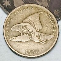 1858 Flying Eagle Cent One Penny 1C Small Letters Civil War Era US Coin CC4416