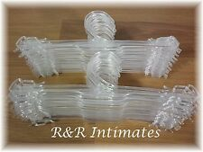 "Lot of 24 Clear Plastic 10"" Lingerie Hangers for Bras, Panties, Camis, Slips"