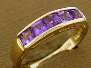 R164 Genuine 9K or 18K Solid Gold Natural Amethyst 5-stone Eternity Channel Ring