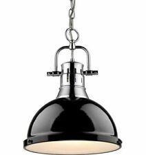 Golden Lighting 3602-L CH-BK Pendant with Black Shades, Chrome Finish