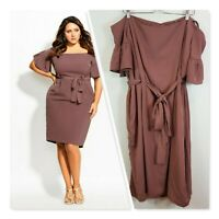 [ CITY CHIC ] Womens Nutmeg Dainty Sleeve Dress  | Size XL or AU 22