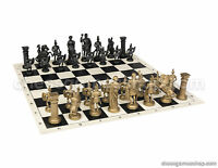 "Roman Chess Set - Chess Board Black/White- Size 17,3"" + Roman Chess Pieces 3,75"""