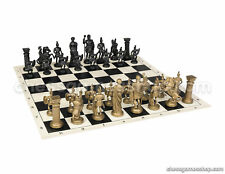 "Roman Chess Set - Chess Board Black/White- Size 17,3"" + Roman Chess Pieces 3,75"""
