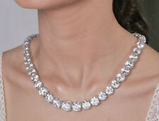 925 Sterling Silver White Round CZ Riviere Necklace Wedding Bridal Fine Jewelry